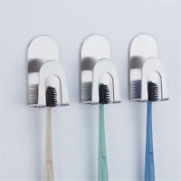Stainless Steel Sticker Toothbrush Holder Bathroom Toothpaste Storage Hanger SE