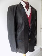 VINTAGE mens 1970's AVANTI SOFT BLACK LEATHER BLUE SUEDE TRIM JACKET 44""