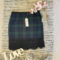 Only Size 40 UK 12 green checked tartan lace hem straight smart party occasion w