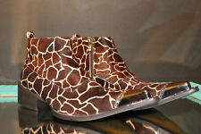 RARE Gucinari Abena Mens Hair-On Leather Giraffe Print Steel Toe Ankle Boots
