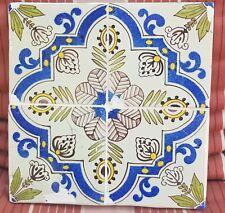 4 antique Dutch Delft Blue White Yellow Flower Tiles tableau encased in plaster