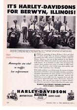 "1948 Vintage Harley Davidson Police Motorcycles ""Berwyn, Illinois"" Print Ad"