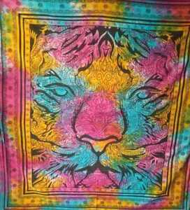 Queen Tapestry Lion/Tiger Head Wall Hanging Tie-Dye Hippie Animal Print Poster