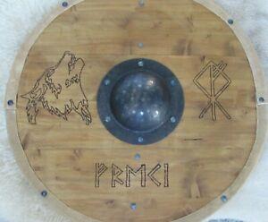 Viking shield with burned Wolf (Freki) design