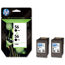 2 NEW GENUINE HP 56 BLACK INK CARTRIDGES 2 YEAR GUARANTEE 1ST CLASS FAST POSTAGE