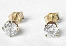 Estate 14k Yellow Gold .82 Ct Natural Diamond Stud Earrings 4 Prong Style