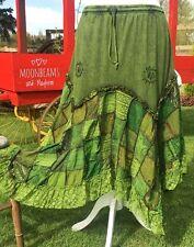 DREAMY NEW GREEN BOHEMIAN SKIRT SIZE 18 20 HIPPIE BOHO DRESS GYPSY PAGAN PLUS