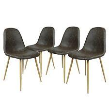 Lot de 4 chaises de cuisine en bois rétro faux cuir rembourrée Chaise de salle