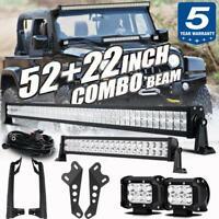 52'' + 22'' LED Light Bar + 18W Pods + Mount Bracket Set For Jeep Wrangler JK 18