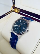 OMEGA Mens Geneve Automatic Date Blue dial leather vintage watch CAL 1012 + Box