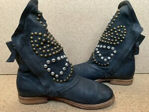 A.S.98 Airstep Studs Leather Gray Boho Biker Boots  EUR 38 | US 7.5-8 | UK 5