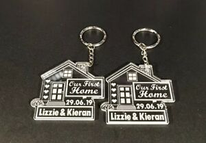 2 x PERSONALISED Our First Home KEYRINGS House Warming New FREE GIFT BAG