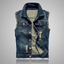 Men Jeans Vest Jackets Sleeveless Ripped Denim Waistcoat Trucker Coat Distressed