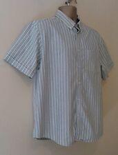 M & S Blue Harbour Mens Green Stripe Button Down Oxford Weave Shirt Size Large