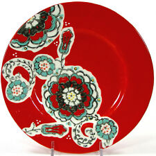 "Anthropologie AYAKA RED 8.25"" Salad Dessert Plate Floral Teal Grey Yellow"