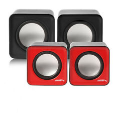 Kompakt Mini Stereo PC Lautsprecher USB Paar Boxen Computer Laptop Schwarz Rot