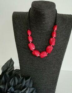 Black Red Pink / Dark Coral Bead Statement Necklace Jewellery Lagenlook Arty