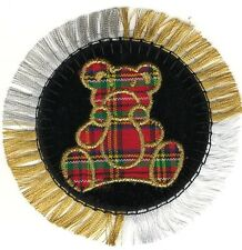 Plaid Bear Circle Metallic Gold Silver Fringe Embroidery Patch