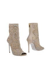 RENE CAOVILLA Beige Peep-toe Crystal Boots Size : IT39/US8-9