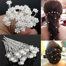 Uk 10pcs Bridal Crystal Diamante Rhinestone Flower Pearl Hair Pins Grip Clip