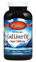 CARLSON LABS Cod Liver Oil Gems Super 1,000 mg 250 Weichkapseln VERSAND WELTWEIT