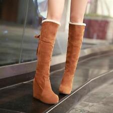 Womens ladies Knee High Boots Platform Wedge Heels Fur Lining Winter Tall Boot