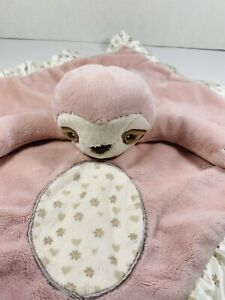 Douglas Baby Brown Pink/CreamCheck Sloth Security Blanket Heart Flower Lovey