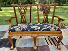 Vintage Chippendale Style Carved Mahogany Two Seat Arm Chair Bench Love Settee
