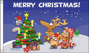 Christmas Banner Flag 5ft x 3ft Christmas Scene Festive Season Polyester Flags