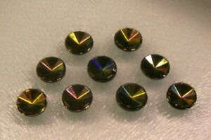 9 vintage small black glass buttons /multi-faceted /iridescent lustre 11 mm.