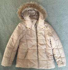 Witchery Girl Teen 14 (Suit Women's XS 6 8) Beige Faux Fur Puffer Zip Jacket