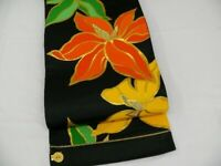 Black & Gold Silk Japanese ROKUTSUU FUKURO OBI w/LARGE Flowers N508