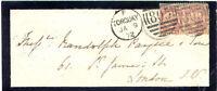 GB 1872 QV 1/2 D. Pl. 8 vertical pair 'OT-PT', extremely rare multiple postage