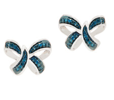 AFFINITY 1/5 CT BLUE DIAMOND STERLING SILVER BOW MOTIF EARRINGS QVC $109.75