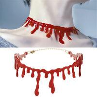 Punk Rock Deathrock Halloween Party Dress Ball Blood Red Stitch Choker Necklace