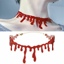 Blood Red Stitch Choker Necklace Halloween Party Dress Ball Punk Rock Deathrock