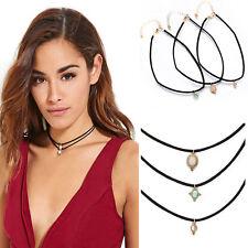 Bib Statement Gem Leather Turquoise Necklace Chain Choker Pendant Jewelry Set