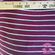 Jersey Knit Polyester Poly Spandex Burgundy & White Stripe Fabric by the Yard