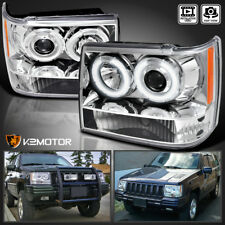1993-1996 Jeep Grand Cherokee Halo Projector Headlights Left+Right
