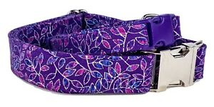 "Premium Leaf fabric dog collar Handmade adjustable buckle 1"" & 5/8"" wide leash"