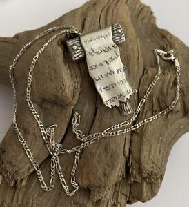 Vintage 925 Silver Arabic Scroll Pendant & 20 Inch Figaro Link Chain 11.1 Gram