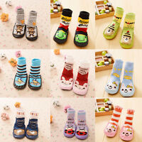Newborn Baby Boy Girl Anti-slip Sock Shoes Cartoon Boots Slipper Socks 0-24M UK