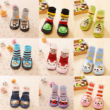 Newborn Baby Boy Girl Anti-slip Sock Shoes Cartoon Boots Slipper Socks 0-24M UK