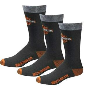 Harley-Davidson Men's 3-Pack Black Moisture-Wicking Rider Socks 99202870-001