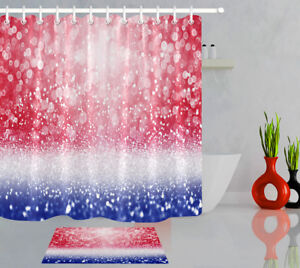 Abstract Patriotic Red White and Blue Glitter Sparkle Fabric Shower Curtain Set
