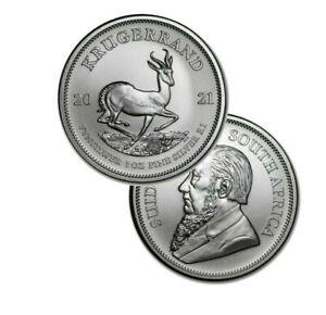 2021 Silver South Africa 1 oz Silver Krugerrand .999 fine Silver 1 Rand