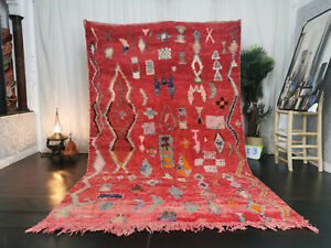"Handmade Moroccan Vintage Boujad Rug 6'3""x10'  Abstract Berber Red Wool Carpet"