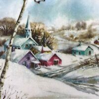 Vintage Mid Century Christmas Greeting Card Glitter Snowy Village With Church