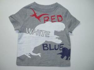 4th of July Boy's Grey Short Sleeve T-Shirt Red White Blue Dino Dinosaur