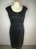 Black Lace and Sequinned  Evening Cocktail Dress Size 14 ( E3)
